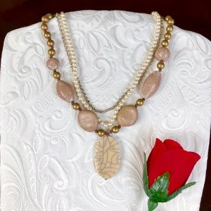 Jewelry - Classic Pearl Stone Layered Necklace